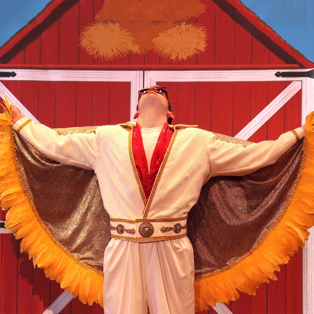 Elvis open cape in front of barn