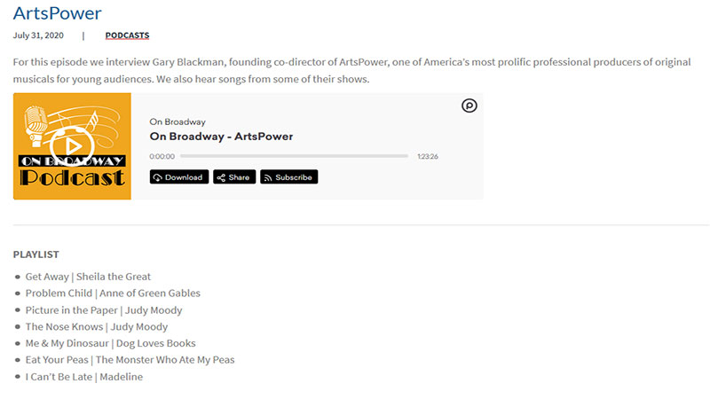 On Broadway - ArtsPower Podcast Playlist